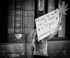 (creteBee) Tags: plant march dfwnorml dfw texas legalize freedom sign woman marijuana white black monochrome protest