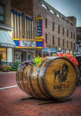 Buffalo Trace flower planter & The Grand Theatre (donnieking1811) Tags: kentucky frankfort grandtheatre theatre theater building buffalotrace flowerplanter beerbarrel flowers pinkfloyd marquee colorful outdoors hdr canon 60d lightroom photomatixpro