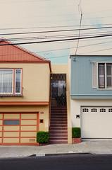 San Francisco (bior) Tags: sanfrancisco leicam3 velvia fujifilmvelvia100f velvia100f summicron expiredfilm apartment stairs house home garage powerlines