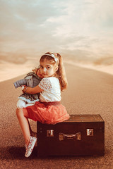 Sara (Sparkphotopro) Tags: bag portrait cute kid vintage fall film red girl child outdoor caucasian box isolated toy street happy childhood baby innocence innocent lovely small
