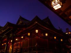 Yushima Shrine at Dusk (Eshke04) Tags: yushima tenjin shrine shintoist dusk lantern lights architecture silhouette tokyo japan edo history michizane sugawara plum