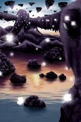 Foreign Home (CaligniousCat) Tags: art digital landscape fictional purple sky