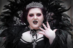 Street portrait from Saturday at the Whitby Gothic Weekend, April 2018 (Gordon.A) Tags: yorkshire whitby whitbygoths whitbygothicweekend whitbygothweekend wgw wgw2018 goth gothic girl makeup cosplay creative costume culture lifestyle style street festival event streetevent eventphotography amateur streetphotography streetportrait colourportrait colourstreetportrait portrait naturallight naturallightportrait digital canon eos canoneos750d sigma sigma50100mmf18dc