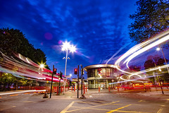 Walthamstow blue hour (Paul Wrights Reserved) Tags: bus bluehour light lights streetphotography streetlights station lighttrails longexposure clouds buses london londonbuses londonbus londonstreets sky skyscape cloudscape building road walthamstow tfl transport transportforlondon landscapephotography landscapes landscape city