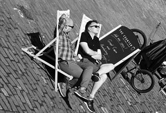 cafe on the canal 02 (byronv2) Tags: cafe canal thecounter blackandwhite blackwhite bw monochrome peoplewatching candid street spring sunny sunshine sunlight sitting seated coffee sunbathing relaxing viewforth tollcross fountainbridge unioncanal towpath people sit