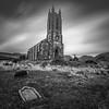 Abandoned Church (John Holmes (DAJH51)) Tags: graveyard blackandwhite christian churchabandoned clouds dunlewey grass headstone longexposure mountains overgrown posionglen remote ruin sky tree unsed