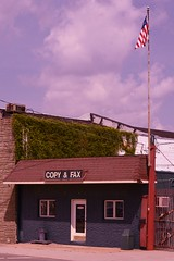 Copy & Fax (JustinPhiIIips) Tags: adventure travel us outdoors landscape small town old style copy fax american flag blue sky cloudy vertical nikon d3200 2018 spring