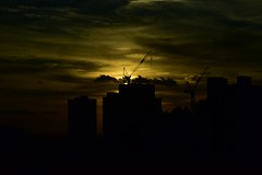 Building Melbourne (Harald Philipp) Tags: melbourne australia skyline sunset city urban street nikon d810 nikkor crane construction skyscraper tower twilight dark aerial contrast silhouette clouds moody