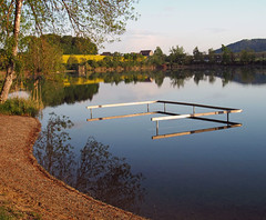 Waterside area (でんたく) Tags: olympus omd land landscape landschaft thurgau wasser water lakeside badeplatz beach mirror