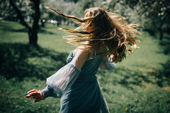 #6 When apple-trees are blooming (Dmitry Chastikov) Tags: 20180512d756132cr01 garden apple bloom blossom girl dancing hair sigma sigma35mm14 sigma35art nikon d750
