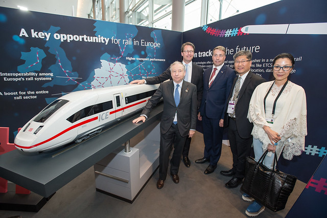 Jean Todt, Andreas Scheuer, Uldis Augulis, Young Tae Kim and Michelle Yeoh visit the Deutsche Bahn stand