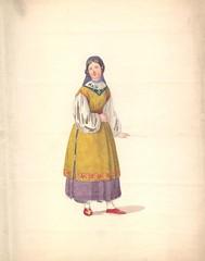 Kvindekostume (Rigsarkivet - Danish National Archives) Tags: costumes drawing theatre aquarel teater kostumer kostumetegninger