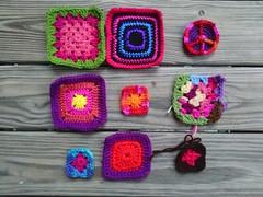 Progress on my second nine-patch of future five-inch crochet squares (crochetbug13) Tags: crochet crocheted crocheting crochetbug crochetsquares grannysquares crochetblanket crochetafghan crochetthrow