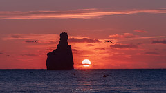 only when the sky is the limit ... (Anton Calpagiu) Tags: benirras ibiza sunset birds fly sea stone red clouds waves sun