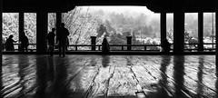 Senjokaku Pavilion (banzainetsurfer) Tags: asia japan hiroshima miyajima wood light shadow texture silhouette fall autumn weather fog trees mountain view grain detail canon 7d colors peace beauty