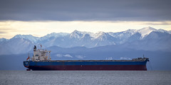 Alpha Hope (Paul Rioux) Tags: marine commercial freighter ship vessel bulk carrier alphahope transportation clouds ocean sea outdoors salishsea bc victoria prioux olympic mountains washington state peaks snow alpine seascape
