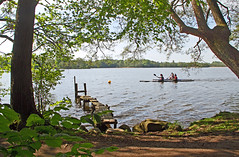 Canoes  on a forest lake on a sunny spring morning (sunsju) Tags: outdoor landscape lake forest wood water canoe spring
