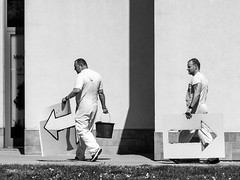 Left the right? [explored] (un2112) Tags: humansofbudapest men workers budapest blackandwhite bw monochrome g80 april