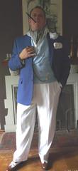 Blue DB Waistcoat 3 (Gutzvillier) Tags: ascot doublebreastedwaistcoat blazer watchchain dandy gentleman pocketsilk spectators summerattire buttoniere cigarette cigaretteholder smoking