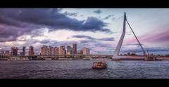 Rotterdam - Erasmusbrug VII (Passie13(Ines van Megen-Thijssen)) Tags: rotterdam netherlands erasmusbrug bridge brug bruecke sunset canon sigma35mmart cinematic boat inesvanmegen inesvanmegenthijssen