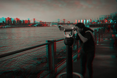 Brooklyn, New York (DDDavid Hazan) Tags: brooklyn newyork ny nyc newyorkcity eastriver dumbo waterfront sunset cityscape williamsburg bridge binoculars telescope anaglyph redcyan anglyph3d stereophotography stereo3d anaglyph3d 3d 3danaglyph bwanaglyph bw city urban