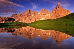 Little Reflection @ Passo Rolle, Italy (Avisekh) Tags: italy dolomites reflection sunset golden cloud passorolle chalet canon 5diii 1635 lee leefilters wwwavisekhphotographycom tripod gnd polarizer