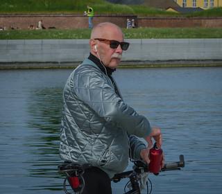 A cyclist in Helsingør