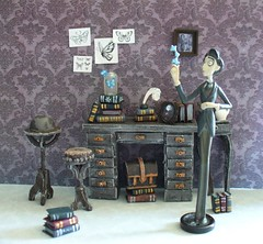 Miniature Corpse Bride furniture - Victor's study (redmermaidwerewolf) Tags: tim burton gothic mini miniature doll house dollhouse room box shadow display furniture cardboard craft handmade home made paper polymer clay air dry sculpted tiny figure the corpse bride victor victoria keychain selena kyle batman returns