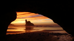 Sunset from a Sea Cave (New Zealand Wild) Tags: aotearoa newzealand newzealandwild nature newzealandnature wild wildnewzealand seashore westcoast wilderness stunning scenery scenic stevereekie photography newzealandnaturephotography newzealandgeographic nationalgeographic