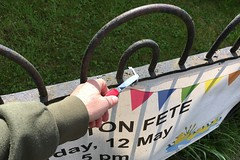 133 2018 taking down the fete banners (Margaret Stranks) Tags: 133365 365days 2018 railings banner quenington queningtonfete sak swissarmyknife penknife