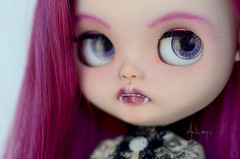 Purple Vampire (Art_emis) Tags: custom blythe doll ooak purple vampire handmade carved teeth fangs middle parted long hair victorian fabric lace dress art work photography artemis