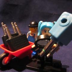 Hatsune Miku, QC inspector for KLM. (jefalump) Tags: headphone socket adapter plug lego hatsunemiku wheelbarrow macromondays plugsandjacks