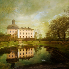 A sense of Baroque (Birgitta Sjostedt) Tags: architecture castle old ancient paint texture naturelandscape reflections spring tree parkörbyhuscastle sweden birgittasjostedt