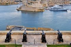 Upper Barrakka Gardens (Douguerreotype) Tags: boat cannon fort historic city malta architecture valletta water