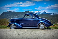 Classic day blues (Christie : Colour & Light Collection) Tags: coupe rod hotrod chevrolet chevy chev 1937chevroletcoupe 2doorcoupe blues blue mountains cruise showandshine classiccar vintagecar scenic 1937 37 chrome restoration customcar chevycoupe nikon smallblock307 clouds parked
