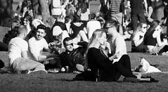 Spring Evening in the Meadows 05 (byronv2) Tags: meadows spring sunny sunshine sunlight peoplewatching candid street sitting seated picnic sunbathing edinburgh edimbourg scotland blackandwhite blackwhite bw monochrome people sit
