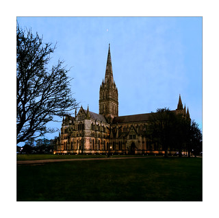 Salisbury Cathedral at dusk - reworked