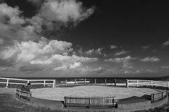 Seaside circle (OzzRod (on the road again)) Tags: pentax k1 hdpentaxdfa1530mmf28 monochrome blackandwhite seascape sky clouds viewingplatform barbeach newcastle dailyinmay2018 shadesofgrey