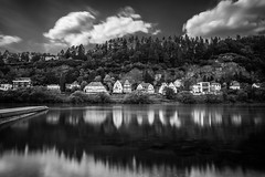 Time, clouds, water, trees & houses (Black&Light Streetphotographie) Tags: mono monochrome dof urban trier tiefenschärfe wow fullframe vollformat sony streets streetshots landscape landschaft langzeitbelichtung
