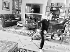 Run (soniaadammurray - On & Off) Tags: iphone blackwhite blurr movement run children play familyactivities boy moments look behavior activities challenge artchallenge life portrait rush interior