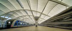 Canopy (Arx Zyanos) Tags: a7riii sony a7rmk3 sonya7rm3 voigtländer hyper heliar wide 10mm metro ubahn metrostation architecture architektur pixelshift ceiling light soft blue train station lines