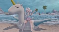 Beach Babe (Emery/Teagan Parker) Tags: lula belle color me cute paper damsels clairdelune the playroom beach unicorn ice cream baja sands