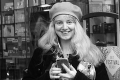 Festival Ready.... (markwilkins64) Tags: hat blonde candid streetportrait streetphotography street mono monochrome blackandwhite bw smile woman portrait surprise london strand thestrand uk