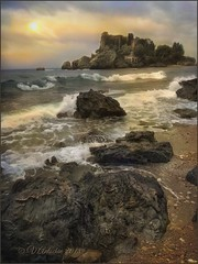 """From the series """"Walks in Italy""""Evening in Taormina. (odinvadim) Tags: mytravelgram iphoneart iphone iphoneography iphoneonly evening sunset textures snapseed painterlymobileart travel textured landscape"""