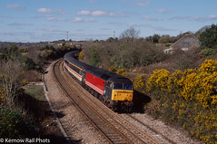 Sunday Service (Kernow Rail Phots) Tags: kernow cornwall class47 47818 virgintrains intercity mk2 coaches sunday 5th march 2000 tomperrow 1c11 1136 penzance exeterstdavids exeter passenger train railway railways railroad sunny spring gorse trees rural countryside