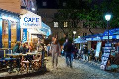 Montmartre At Night (szeke) Tags: paris montmartre france street nightscene lights cobblestone restaurant buildings shop pedestrian market