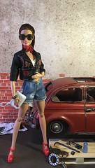 Garage Glam (MaxxieJames) Tags: vittoria belmonte barbie doll dolls mattel made move fashion fashionista mechanic garage car