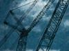 Crane Crazy (Steve Taylor (Photography)) Tags: art digital crane blue black monocolour monocolor monotone white metal newzealand nz southisland canterbury christchurch cbd city cloud sky texture rebuild construction