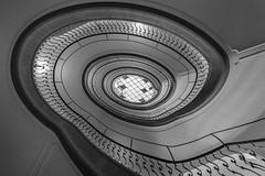 spir@l (Blende1.8) Tags: stair stairs staircase circular spiral treppe treppenhaus line lines wideangle wendeltreppe spirale treppenauge aufwärts upwards perspective architecture interior architektur indoor banister treppengeländer sony alpha ilce7m3 a7m3 a7iii emount sel1224g 1224mm carstenheyer building gebäude innenansicht black white mono monochrome monochrom schwarzweis sw