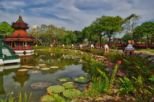 Pond in Muang Boran (Ancient Siam) in Samut Phrakan near Bangkok, Thailand